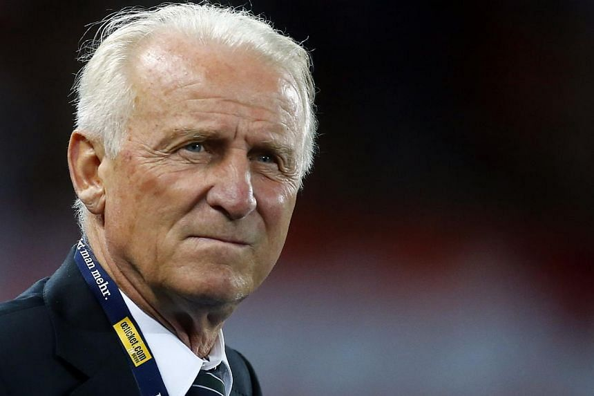 Ireland's coach Giovanni Trapattoni reacts during their 2014 World Cup qualifying football match against Austria in Vienna on Tuesday, Sept 10, 2013. Ireland ended Trapattoni's five-year spell in charge of the national football team on Wednesday