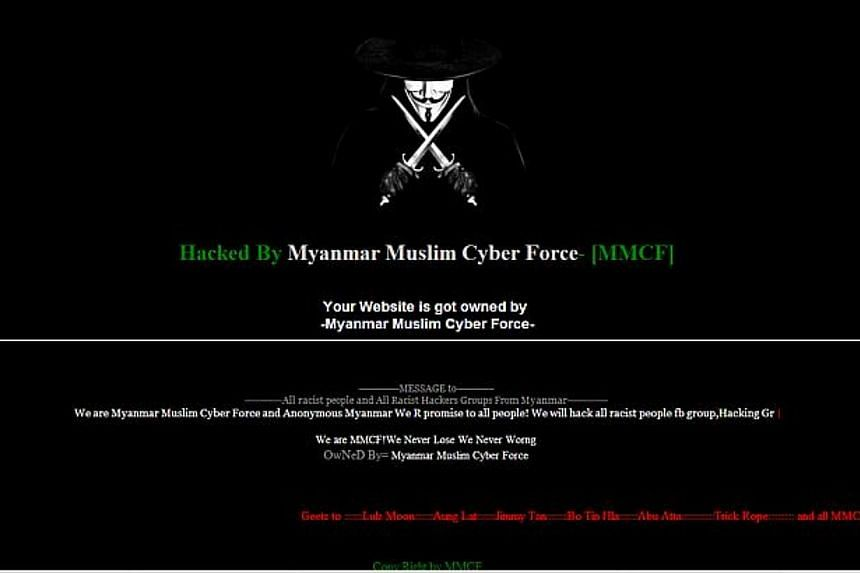 Local football news website kallangroar.com was hacked on Wednesday by a group calling itself the Myanmar Muslim Cyber Force, ahead of a night-time Merdeka Cup match between the Singapore and Myanmar under-23 teams.-- PHOTO: SCREEN CAPTURE FROM