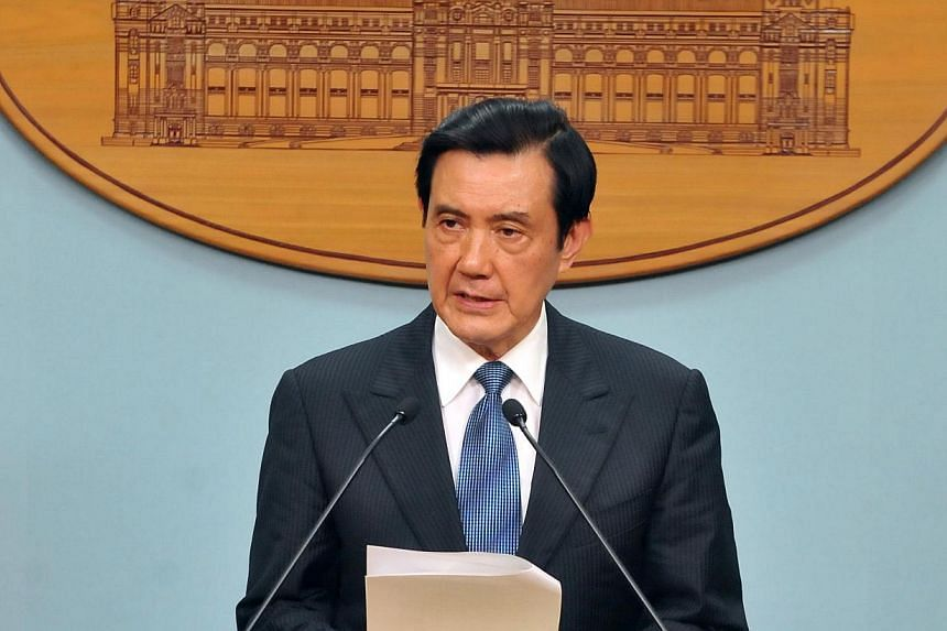 Taiwan President Ma Ying-jeou speaks during a press conference at Taiwan Presidential Office in Taipei on Sept 8, 2013. Mr Ma on Sept 11 urged Legislative Speaker Wang Jin-pyng to step down over accusations of illegal lobbying, in a move that paves t