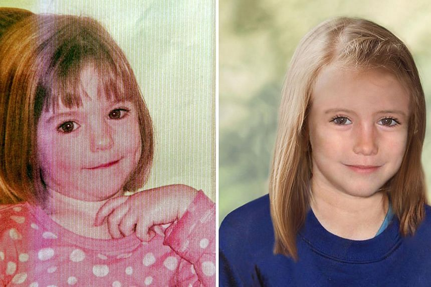 A combination of images created on April 25, 2012, shows an undated handout picture of missing British girl Madeleine McCann taken when she was three years-old (left) and a computer generated handout image released by the Metropolitan Police Service