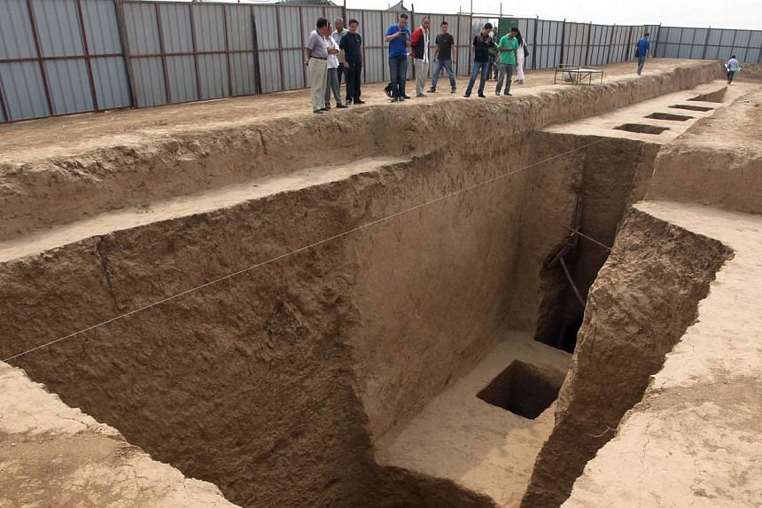 This picture taken on Wednesday, Sept 11, 2013, shows the newly discovered tomb of Shangguan Wan'er,a 7th-century female politician who was one of the most powerful women in ancient Chinese history, near an airport in Xianyang, north-west China