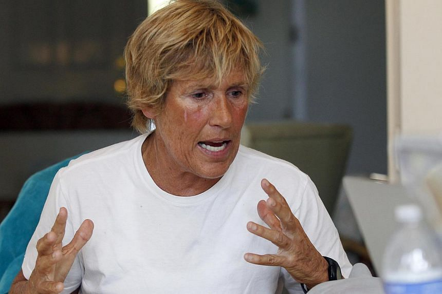 US long-distance swimmer Diana Nyad meets with a group of fellow endurance swimmers to answer sceptics about her record-breaking crossing of the Florida Straits last week, on a conference call in Huntington Beach, California Sept 10, 2013. US long-di