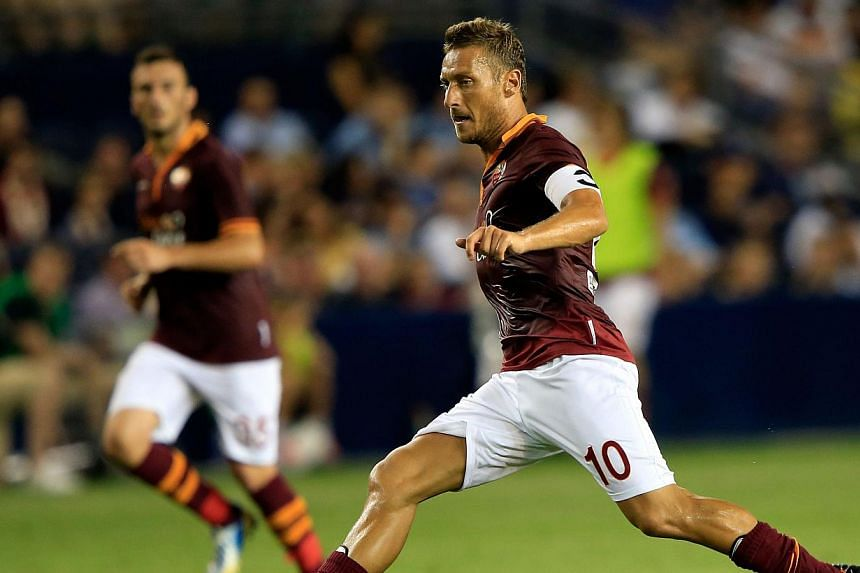Francesco Totti of AS Roma in action during the 2013 Major League Soccer All Star Game against the MLS All-Stars at Sporting Park on July 31, 2013 in Kansas City, Kansas. Veteran forward Totti has signed a new deal at Roma that will see him extend hi