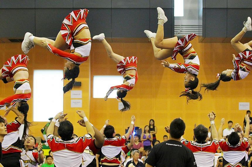 A University of North Carolina study found that 65.2 per cent of all catastrophic sports injuries occur in cheerleading. -- THE NEW PAPER FILE PHOTO