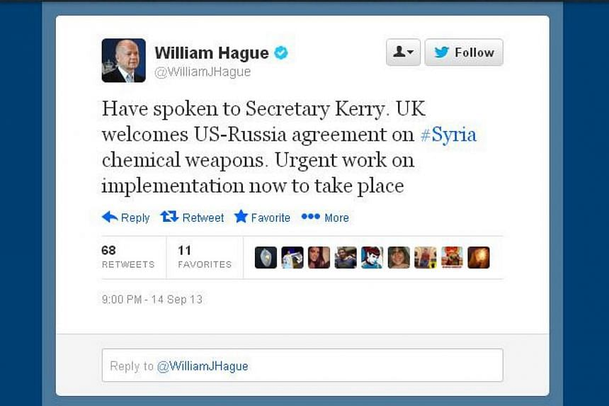 """British Foreign Secretary William Hague on Saturday welcomed a US-Russian deal to eliminate Syria's chemical weapons and said there would be """"urgent work"""" to implement it.-- SCREEN GRAB: TWITTER OF WILLIAM HAGUE"""