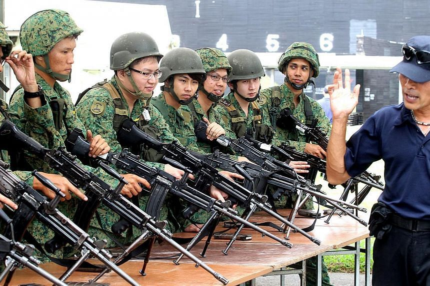 NSmen, called up for mobilisation, have their weapons inspection before a live firing exercise at Nee Soon Camp. -- ST PHOTO: CHEW SENG KIM