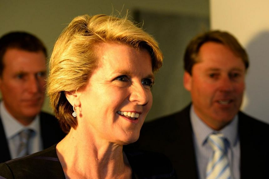 """Australia's incoming foreign minister Julie Bishop leaves after a party meeting in Parliament House in Canberra on Sept 13, 2013. Ms Julie Bishop said on Sunday, Sept 15, 2013, that the new conservative government would work with Indonesia """"where we"""