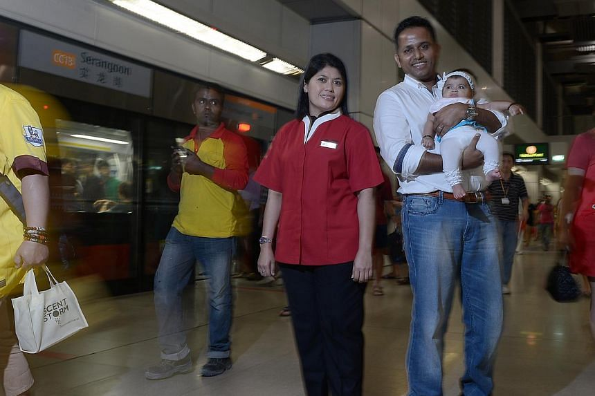 Mr Jith Joseph, with daughter Isabel, said he fully understood the pain that the mother must have gone through when she was separated from her baby. The reunion scene between the mother and her daughter, who is about a year old, also moved SMRT servi