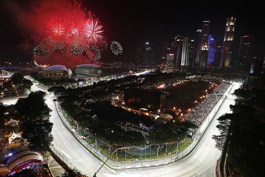 View of the Marina Bay street circuit for the SingTel Singapore Grand Prix as seen from the Swissotel The Stamford on 23 September 2012.But even as Singapore awaits the roar of the Formula One cars' 2.4-litre V8 engines later this week, and las