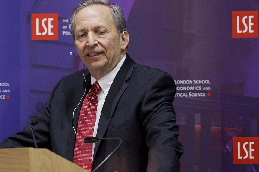 """Former US Treasury Secretary Lawrence H. """"Larry"""" Summers speaks during a financial and economic event at the London School of Economics (LSE) in London in this file photo from March 25, 2013.Former US treasury secretary Larry Summers withdrew S"""