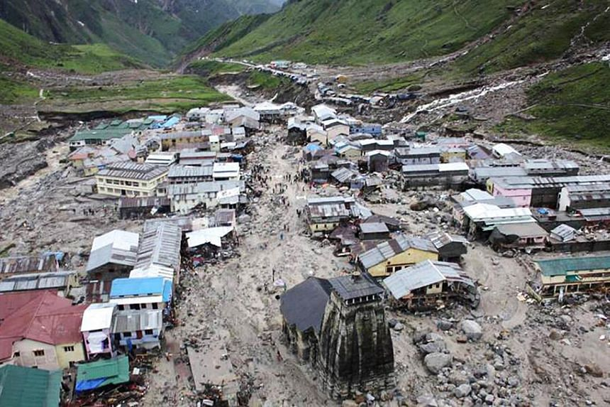 The holy Hindu town of Kedarnath,located in Rudraprayag district in the northern Indian state of Uttarakhand. Workers clearing rubble in a flood-devastated town in the Indian Himalayas have discovered 19 million rupees (S$379,856) in a safe which had