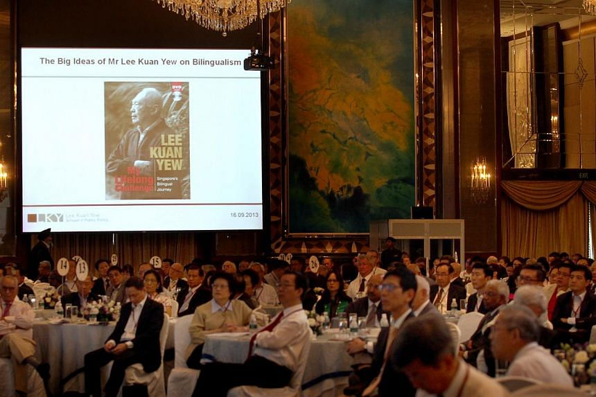 """The Lee Kuan Yew School of Public Policy held a conference titled """"The Big Ideas of Mr Lee Kuan Yew"""" at the Shangri-La Hotel on Sept 16, 2013. -- ST PHOTO: CHEW SENG KIM"""