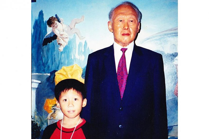 Reader Ming Johansson's son with a wax figure of Mr Lee Kuan Yew. -- PHOTO: MING JOHANSSON