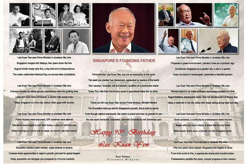 Ms Florence Minjoot sent in a poem in honour of Mr Lee Kuan Yew's 90th birthday on Monday, Sept 16, 2013. -- PHOTO:FLORENCE MINJOOT