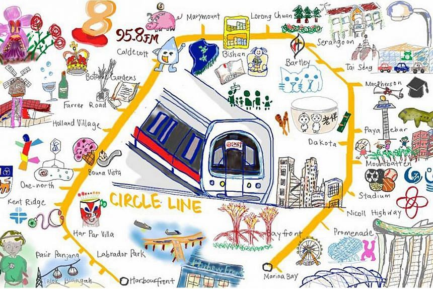 Ms Lynnette Ng sent in a drawing she did of the MRT line.-- PHOTO: LYNNETTE NG