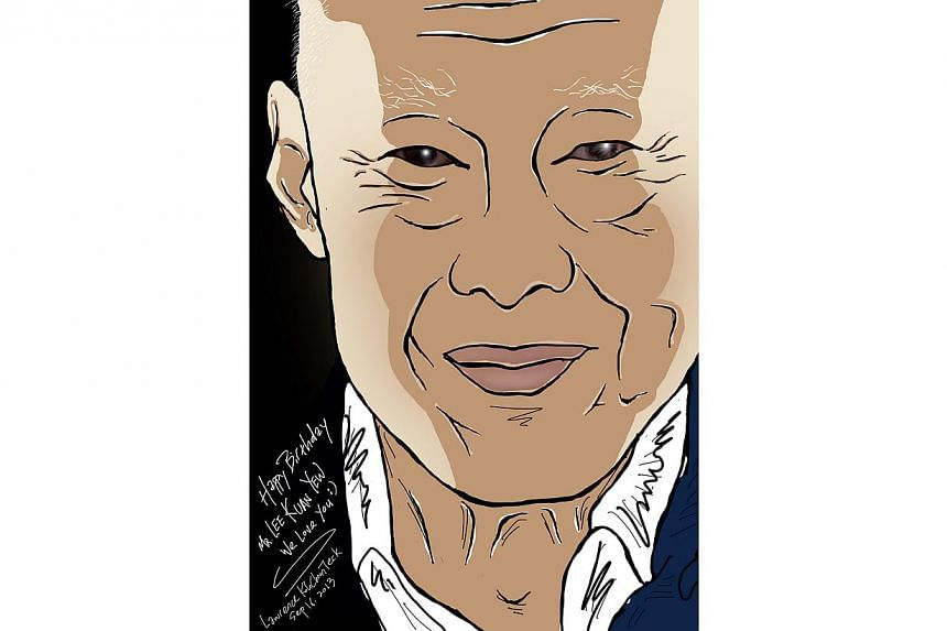 A digital drawing of Mr Lee Kuan Yew in honour of his 90th birthday on Monday, Sept 16, 2013. -- PHOTO: LAWRENCE KOH CHOON TECK