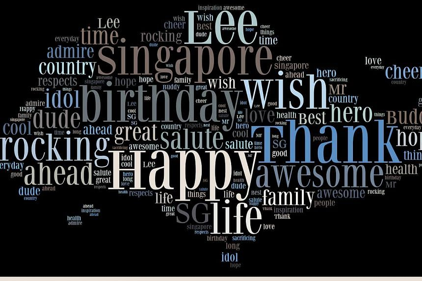 A word cloud featuring words associated with former Singapore prime minister Lee Kuan Yew.Ms Lin Huiling, the form teacher of class 5 Endurance at River Valley Primary School, submitted the work, which was done by her pupils, as a birthday trib