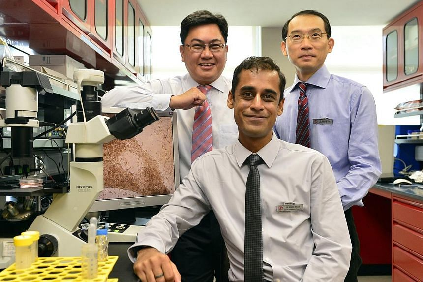 (From left) Associate Professor Philip Wong, director of the Research and Development Unit(RDU), Dr Ashish Mehta, senior research scientist, and Dr Winston Shim, scientific director. Researchers from the National Heart Centre Singapore have bec