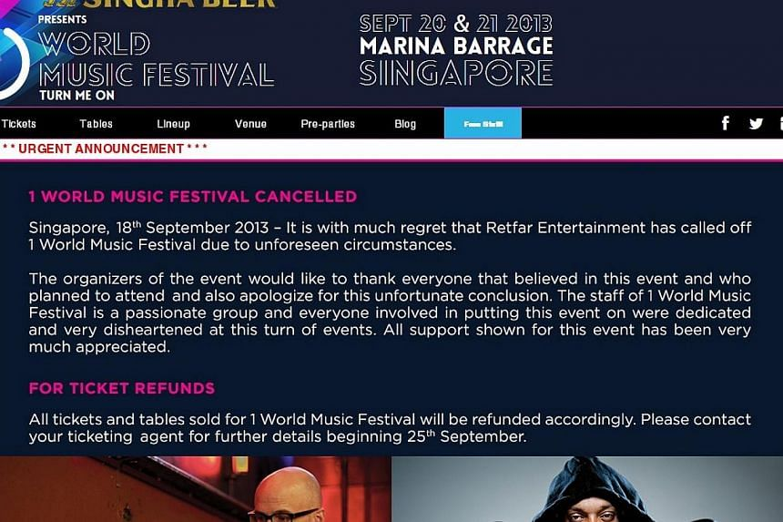 A screengrab of the 1 World Music Festival website. The two-day event was abruptly cancelled on Wednesday night, two days before it was scheduled to take place. -- PHOTO: SCREENGRAB FROM 1WORLDMUSICFESTIVAL.COM