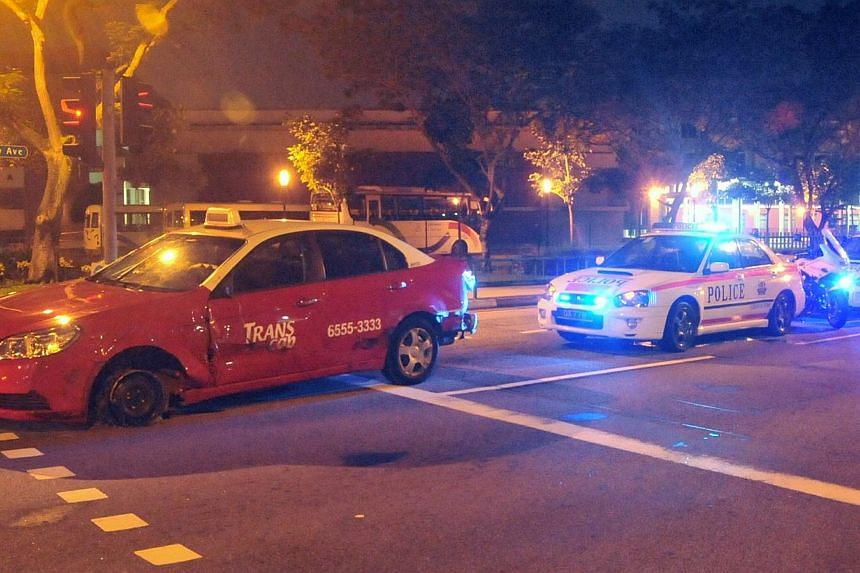 A former Trans-Cab taxi driver, who went on a rampage by ramming into 10 cars in a hit-and-run spree islandwide was sentenced to undergo mandatory treatment order for two years, on Wednesday. -- FILE PHOTO: SHIN MIN