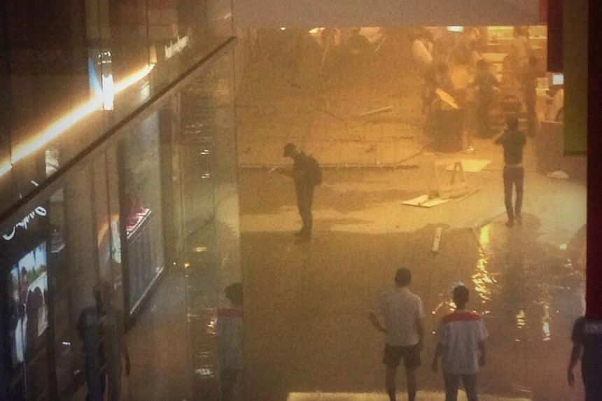 Three individuals are believed to be injured after the first-floor ceiling of Jem mall collapsed due to a burst water pipe.-- PHOTO: TWITTER OF @HOEHOEMISTLETOE