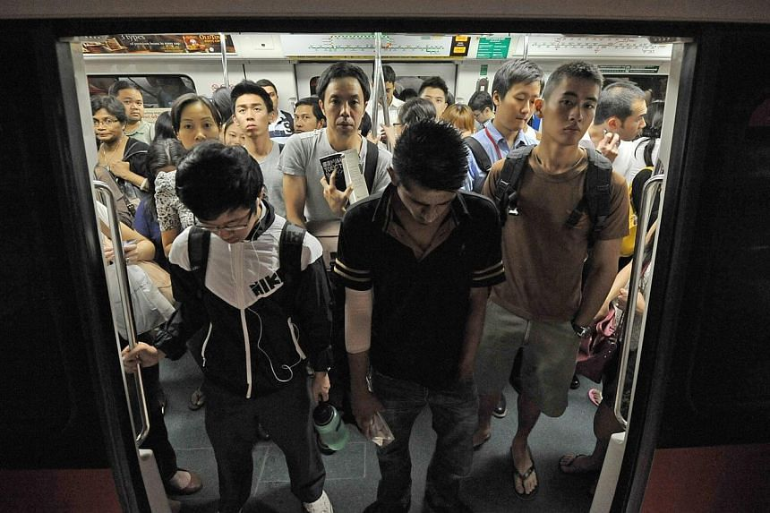 Train service between Raffles Place and Marina Bay stations on the North-South Line was disrupted by a track fault Wednesday afternoon. -- ST FILE PHOTO:ALPHONSUS CHERN