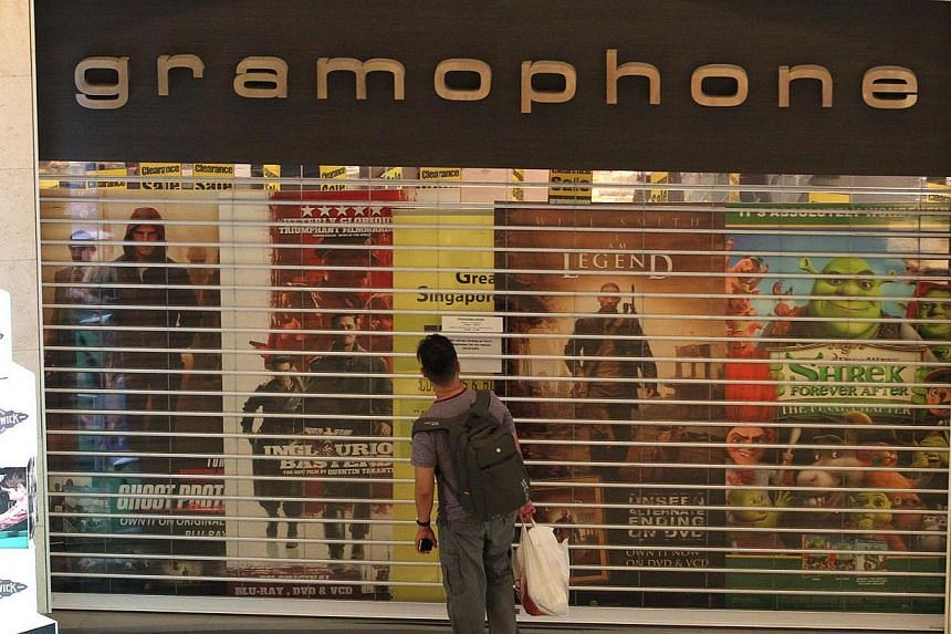 The facade of the Gramophone store at The Cathay, which was closed for stock taking.Gramophone, which had as many as nine outlets four years ago but recently ran a single store at The Cathay, yesterday announced its closure in statements to the