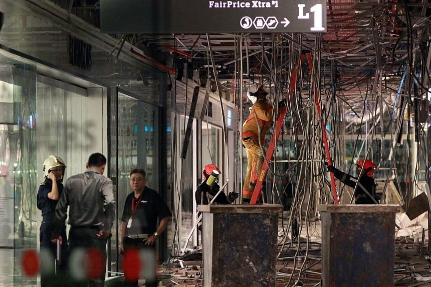 Ceiling collapse at JEM (Jurong East Mall) .Worried tenants told The Straits Times that Wednesday's late night ceiling collapse has added to fears that fewer shoppers will patron JEM mall in Jurong East following the latest addition to the mall