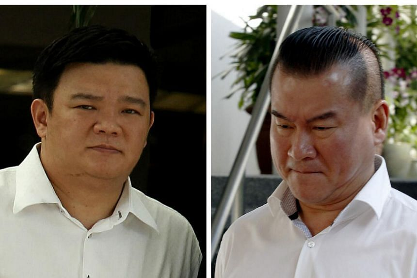 Andrew Ang Kok Kiat (left)and Chua Kim Guan ofJin Li Mould Manufacturingwere charged in court on Thursday, Sept 19, 2013, with corruptly bribing a manager with technology giant Apple to gain an unfair advantage when bidding for busi
