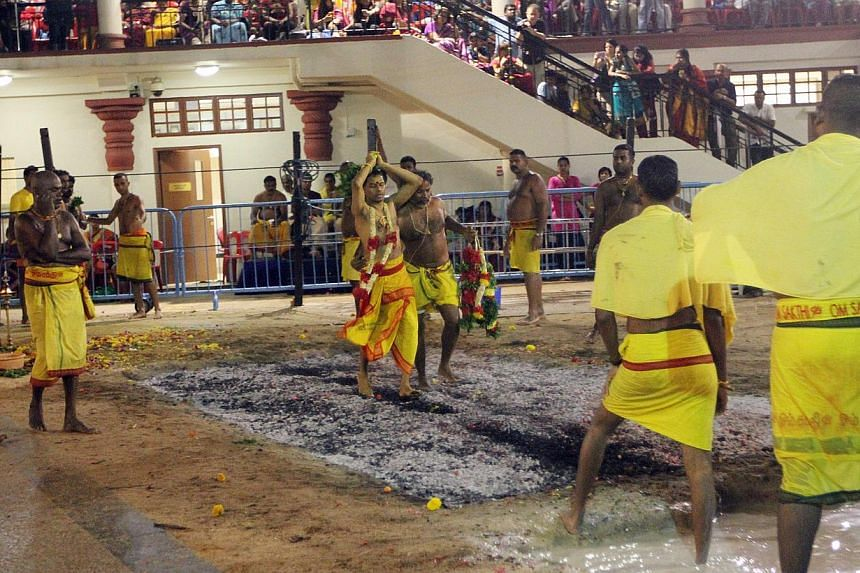 The annual fire walking festival or Thimithi at the Sri Mariamman Temple on Nov 4, 2012. Several roads will be closed, while others will have a lane or two blocked, for the annual fire-walking festival at the Sri Mariamman Temple on Oct 20. -- ST FIL