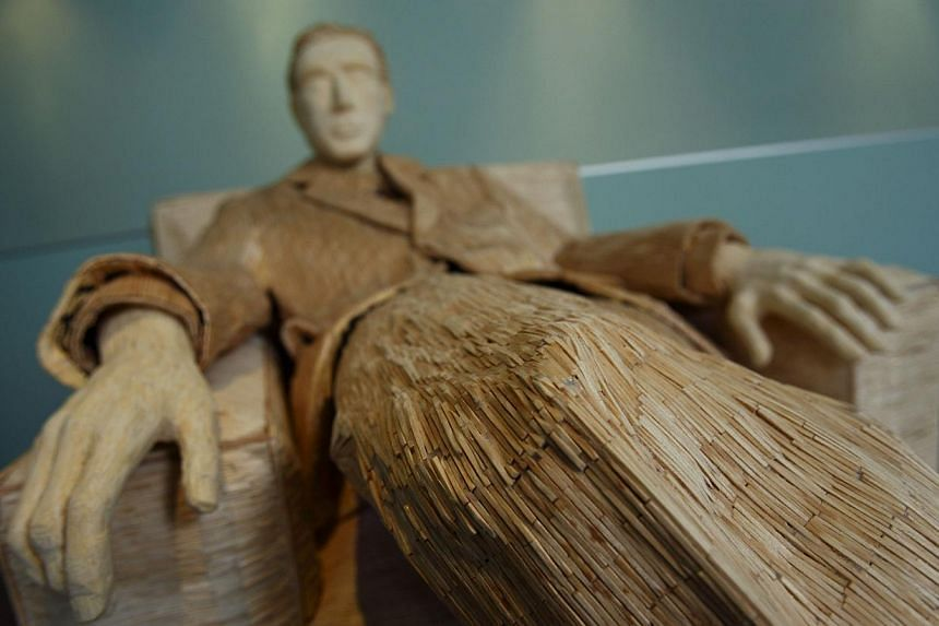 A life-size sculpture of Hollywood actor Al Pacino that is made of 117,000 matches is seen in Tomislav Horvat's studio in Podturen, north Croatia, Thursday, Sept 19, 2013. -- PHOTO: REUTERS