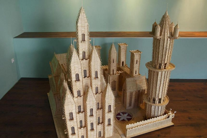 A castle made of matches is seen in Tomislav Horvat's studio in Podturen, north Croatia, Thursday, Sept 19, 2013.. -- PHOTO: REUTERS