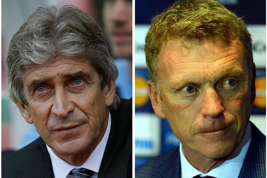 Things will get interesting at this weekend's Manchester derby as both sides feature new managers - City with Manuel Pellegrini (left) and United with David Moyes.-- FILE PHOTOS: REUTERS, AFP