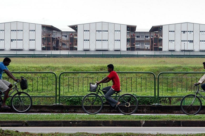 Workers' dormitories in Jurong West. Migrant worker NGOs agree that problems could arise if foreign workers feel isolated, or if they have nowhere to go outside of their dormitories. -- ST PHOTO: ALPHONSUS CHERN
