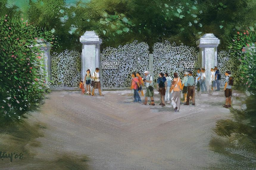 Tanglin Gate at Singapore Botanic Gardens, an oil painting by Eng Siak Loy, was sold for a five-figure sum at Beyond Colours art gallery. -- PHOTOS: BEYOND COLOURS, ALPHONSUS CHERN
