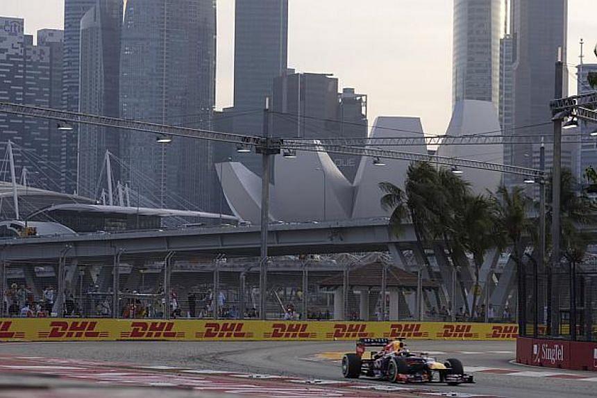 Sebastian Vettel of Red Bull drives during Practice session 3 of the Singapore GP 2013 on Sept 21, 2013