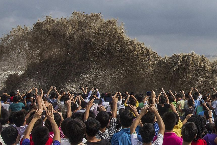 Visitors take pictures of tidal waves under the influence of Typhoon Usagi in Hangzhou, Zhejiang province on Sunday, Sept 22, 2013. According to official Xinhua news agency, China's National Meteorological Centre issued its highest alert, warning tha