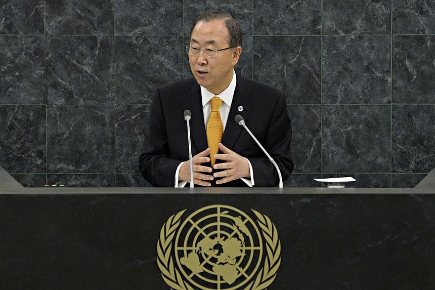 UN Secretary General of the United Nations Ban Ki Moon addresses the start of the 68th United Nations General Assembly in New York City on Tuesday. Sept 24, 2013. Mr Banon Tuesday called on states to stop sending weapons to the Syria conflict a