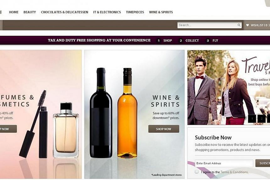 Changi Airport has launched a new online shopping portal for travellers who do not have time to browse before their flights. -- PHOTO: SCREENGRAB OF ISHOPCHANGI WEBSITE