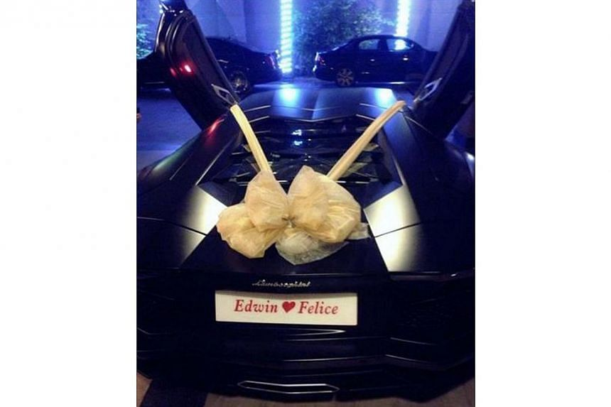 The $1.2 million Lamborghini Dato Tan Eng Boon gave his son, Edwin Tan, as a wedding gift. -- PHOTO: COURTESY OF WAN BAO