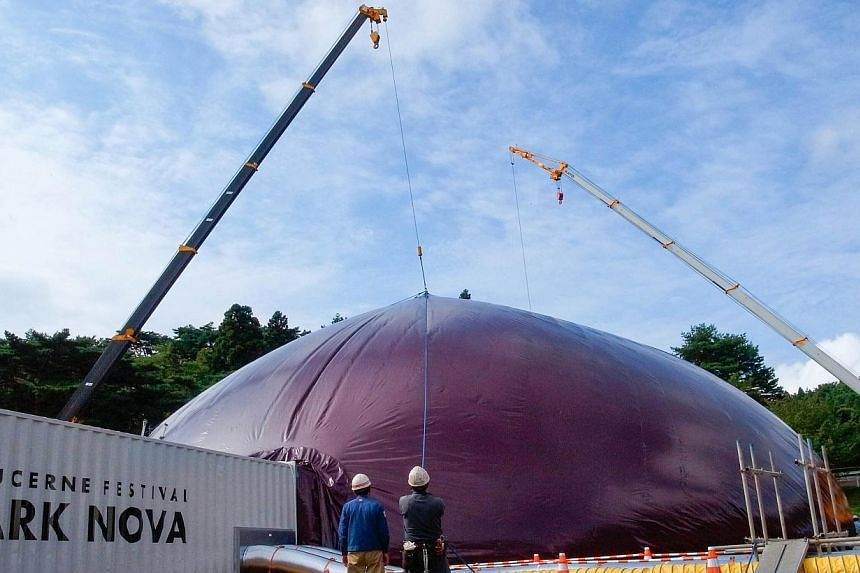 This handout picture taken by Lucerne Festival Arknova 2013 on Sept 10, 2013, shows the world's first inflatable concert hall in the disaster-hit north-eastern coast town of Matsushima in Miyagi prefecture. -- FILE PHOTO:AFP / LUCERNE FES