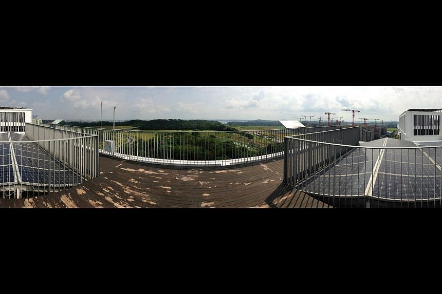 A panoramic view of the roof at Treelodge@Punggol, showing the solar panels set up on either side. The HDB has taken advantage of the plummeting prices of solar panels in pursuing its $31 million scheme to test solar energy. -- ST PHOTO: ASHLEIGH SIM