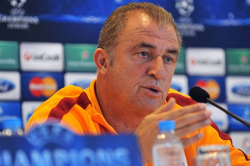 Galatasaray's coach Fatih Terim holds a press conference at Metin Oktay Training Centre in Istanbul on Sept 16, 2013, on the eve of the Uefa Champions League group B football match between Galatasaray and Real Madrid. Galatasaray on Tuesday fired coa