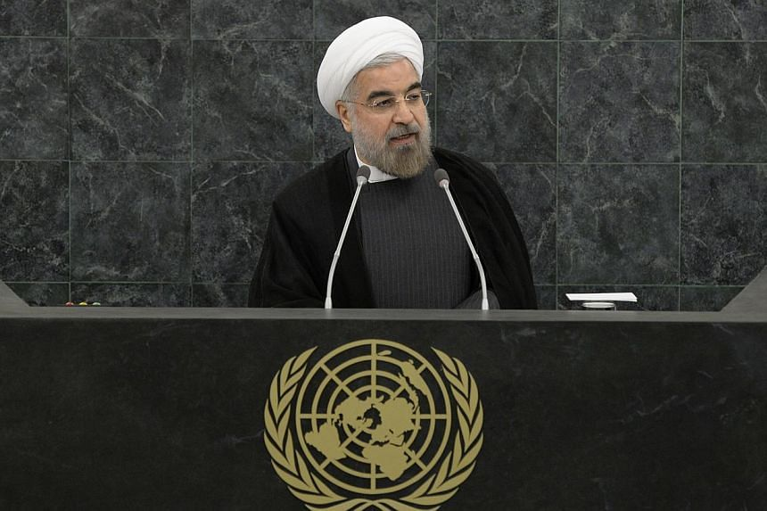 Iranian President Hassan Rouhani called on Israel to join the Non-Proliferation Treaty and put its widely suspected nuclear arms under international control on Thursday, Sept 26, 2013. -- PHOTO: AP