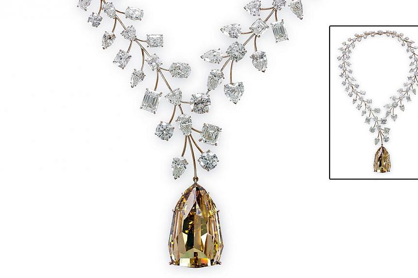 Mouawad's L'Incomparable necklace was named ''most valuable necklace'' in the world by the Guinness World Records this year. It is making its Asian debut in Singapore next month and will be on display at Ngee Ann City. -- PHOTO: MOUAWAD