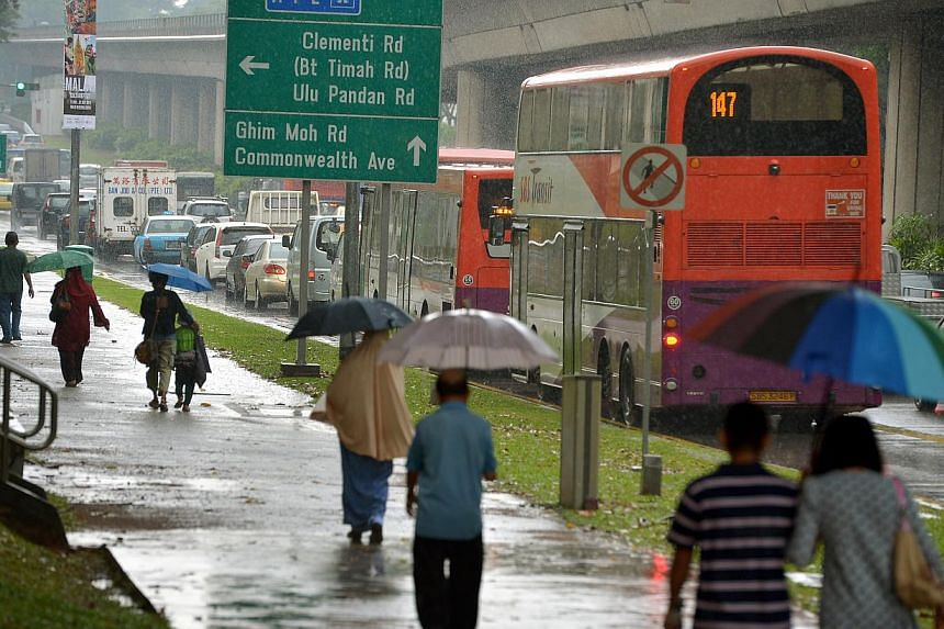 Moderate to heavy thundery showers with gusty winds are expected over many areas of Singapore between 10am and 11.30am on Thursday.-- ST PHOTO: KUA CHEE SIONG