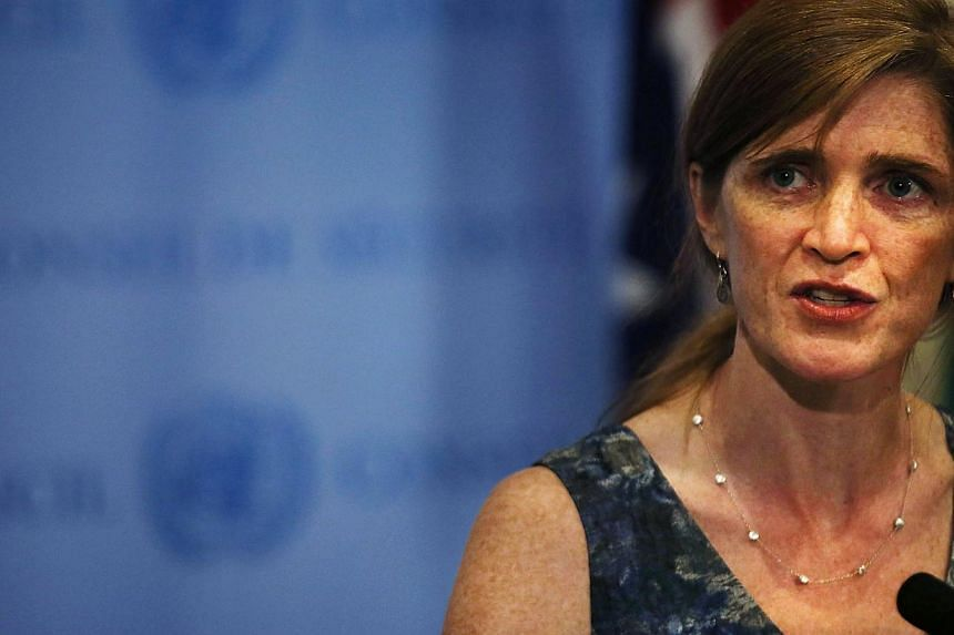 United States Ambassador to the United Nations Samantha Power speaks to the media about the conclusion of the UN inspectors' report on chemical weapons use in Syria after a Security Council meeting at the UN headquarters in New York City on Sept 16,