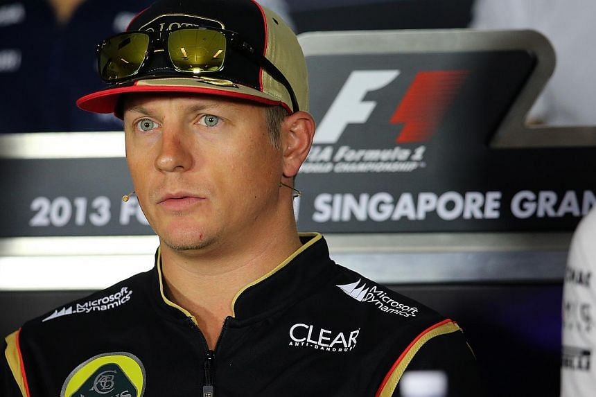 Lotus' Formula One driver Kimi Raikkonen at a press conference for the SingTel Singapore Grand Prix held at Marina Bay Circuit on Sept 19, 2013. Raikkonen will head into next weekend's Korean Grand Prix still dogged by the back problems that upset hi
