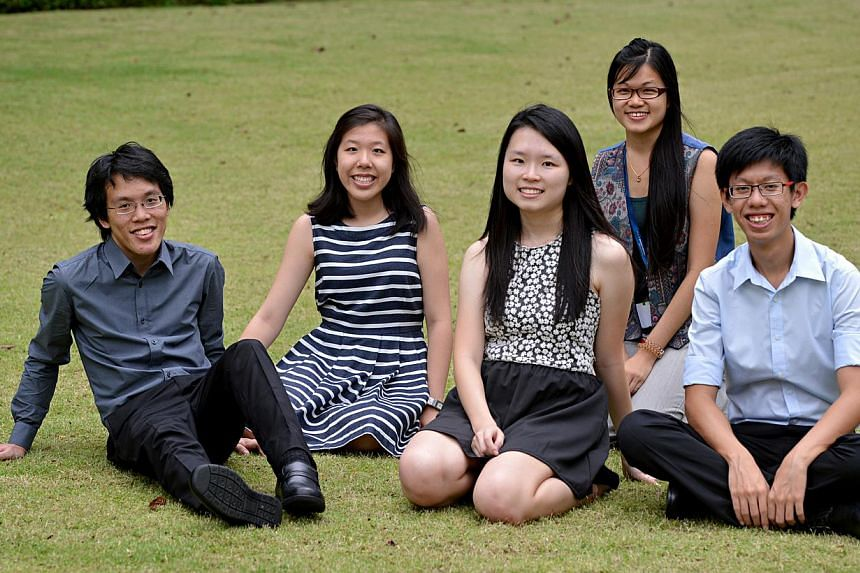 Undergraduates from the National University of Singapore (from left) Ezra Ho, 23, Judy Goh, 20, Cindi Toh, 20, Ng Hui Ying, 22, and Samuel Chan, 22. They put together the inaugural Singapore Futures Sustainability Symposium. -- ST PHOTO:NURIA L