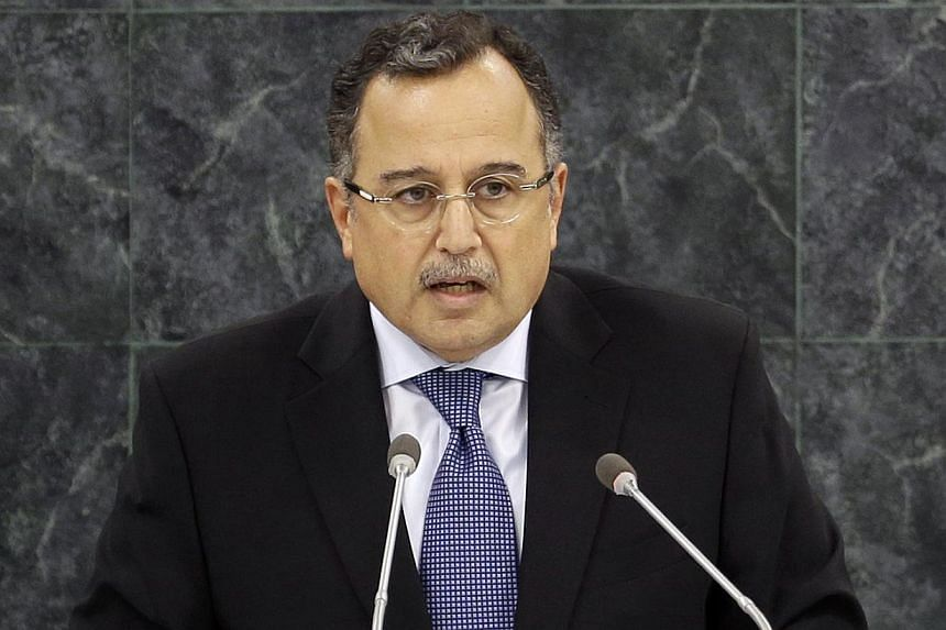 Egyptian Foreign Minister Nabil Fahmy speaks during the 68th session of the General Assembly at United Nations headquarters, Saturday, Sept 28, 2013. Egypt's army-backed government pleaded Saturday for support for its crackdown on the Muslim Brotherh